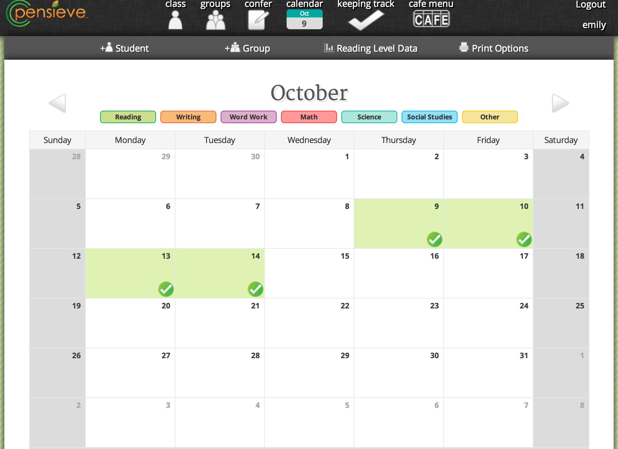 select calendar dates